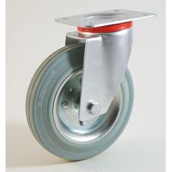 Roulette à platine, bandage caoutchouc gris non marquant, corps tôle CU 50 à 400 Kg
