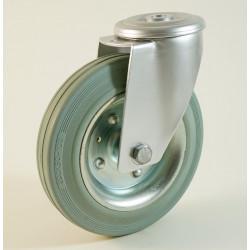 Roulette à trou central, roue à bandage caoutchouc non marquant corps tôle CU 50 à 205 Kg