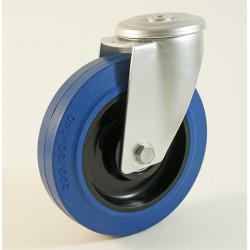 Roulette à trou central, roue à bandage caoutchouc bleu coprs polyamide CU 100 à 300 Kg