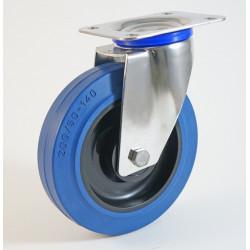 Roulette inox à platine, roue caoutchouc bleu, charges 150 à 350 Kg (série LB/INOX20)