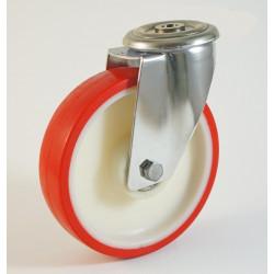 Roulette inox à trou central, roue polyuréthane, charges 100 à 300 Kg (série N/INOX20)
