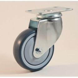 Roulette à platine, roue bandage TPE non marquant, charges 70 à 100 Kg (série TPE/22)