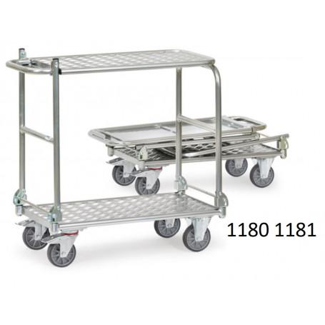 Chariots de manutention pliable en aluminium à 2 étagères