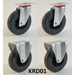 Pack composé de 4 roulettes Ø 200 mm serie D/22 avec 5 type de configurations au choix